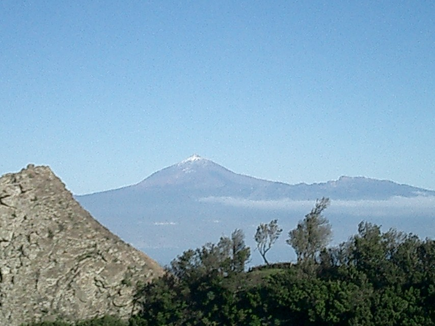 La Gomera and Tenerife: Looking at the highest mountain in Spain, el Teide, from Christopher Columbus's last stop before the New World.